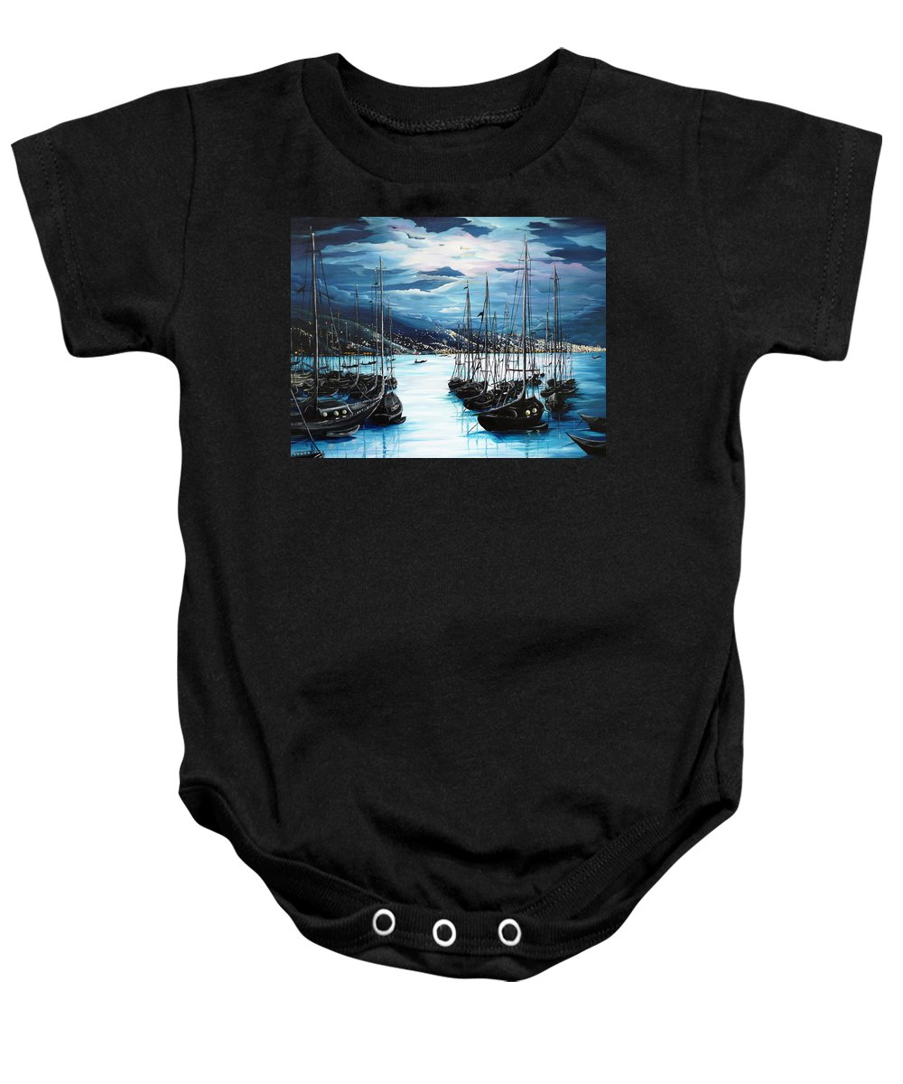 Ocean Painting  Caribbean Seascape Painting Moonlight Painting Yachts Painting Marina Moonlight Port Of Spain Trinidad And Tobago Painting Greeting Card Painting Baby Onesie featuring the painting Moonlight Over Port Of Spain by Karin Dawn Kelshall- Best