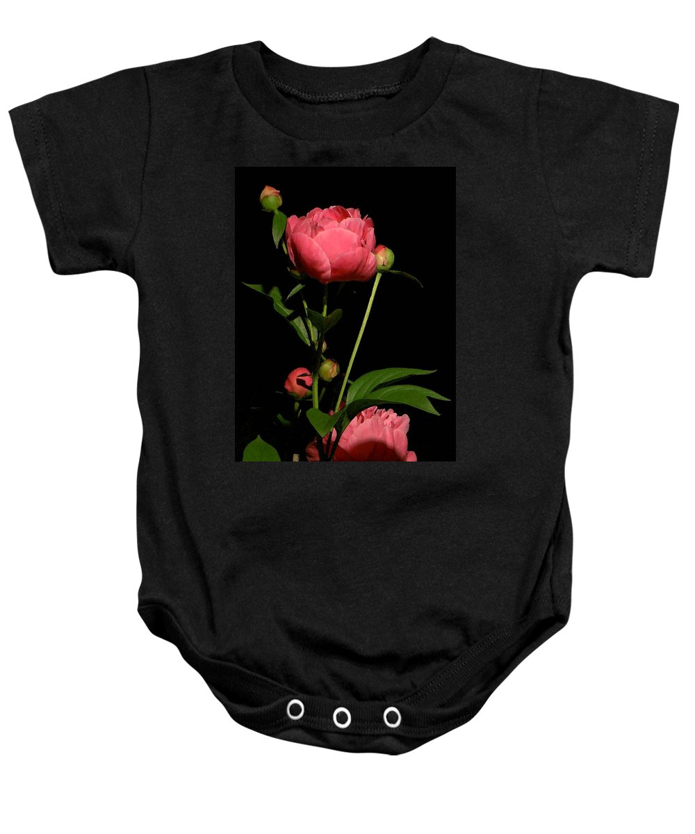 Pink Baby Onesie featuring the photograph Moonlight Peony Watercolor by Carolyn Jacob