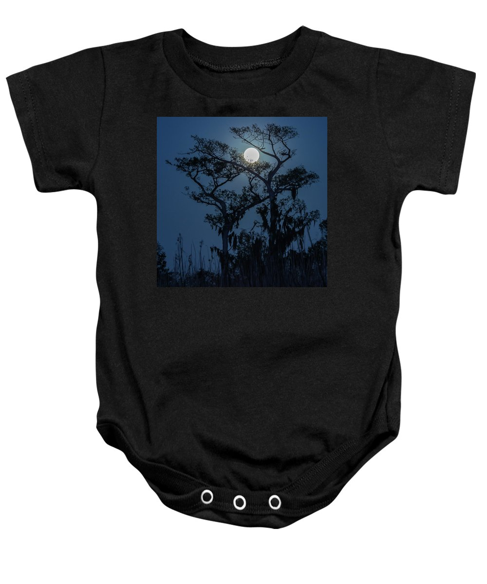 Florida Baby Onesie featuring the photograph Moonrise Over Wetlands by Stefan Mazzola