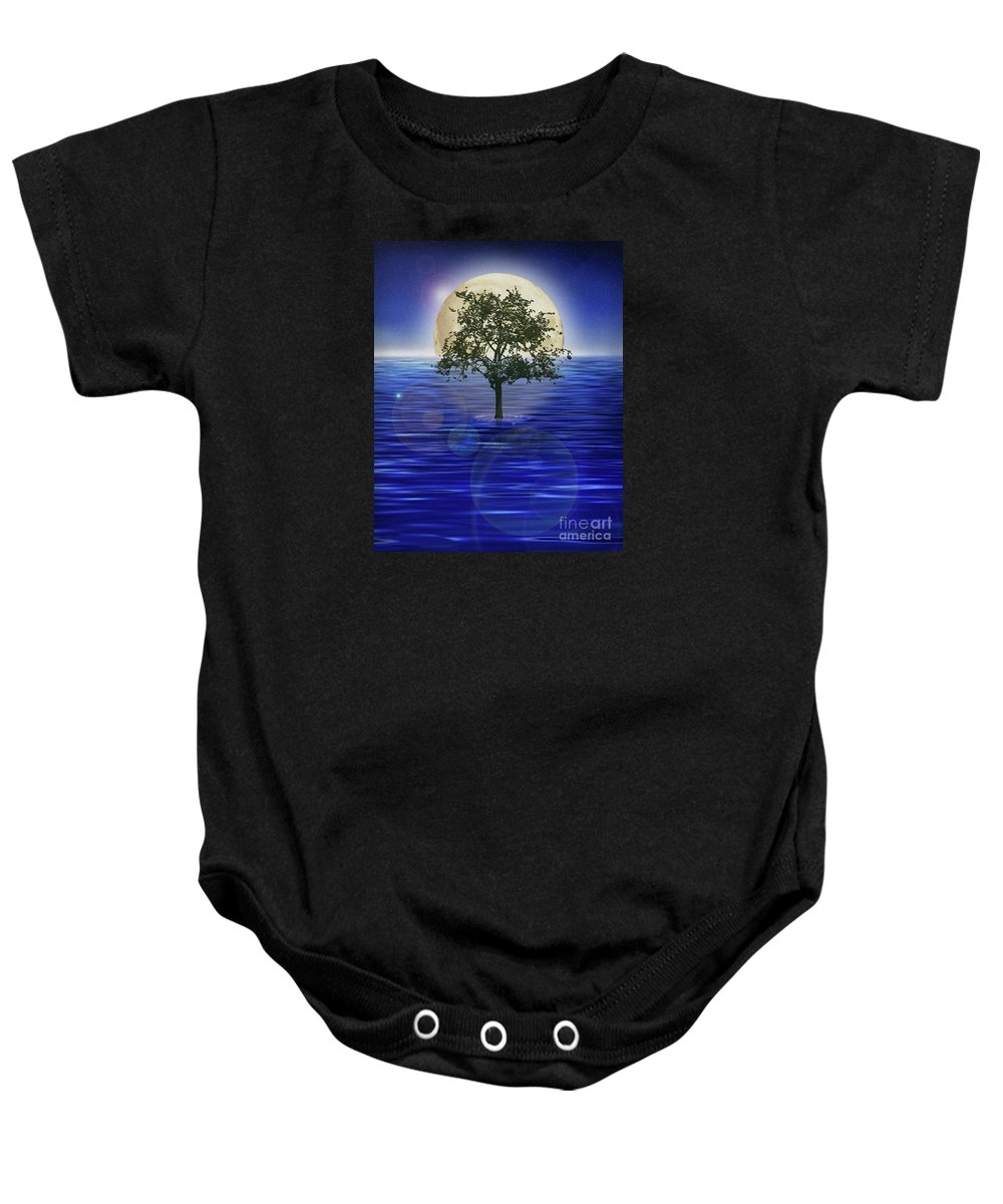 Moontree Baby Onesie featuring the painting Moontree by Todd L Thomas