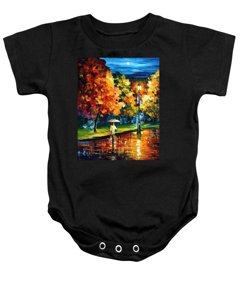 Afremov Baby Onesie featuring the painting Moony Night by Leonid Afremov