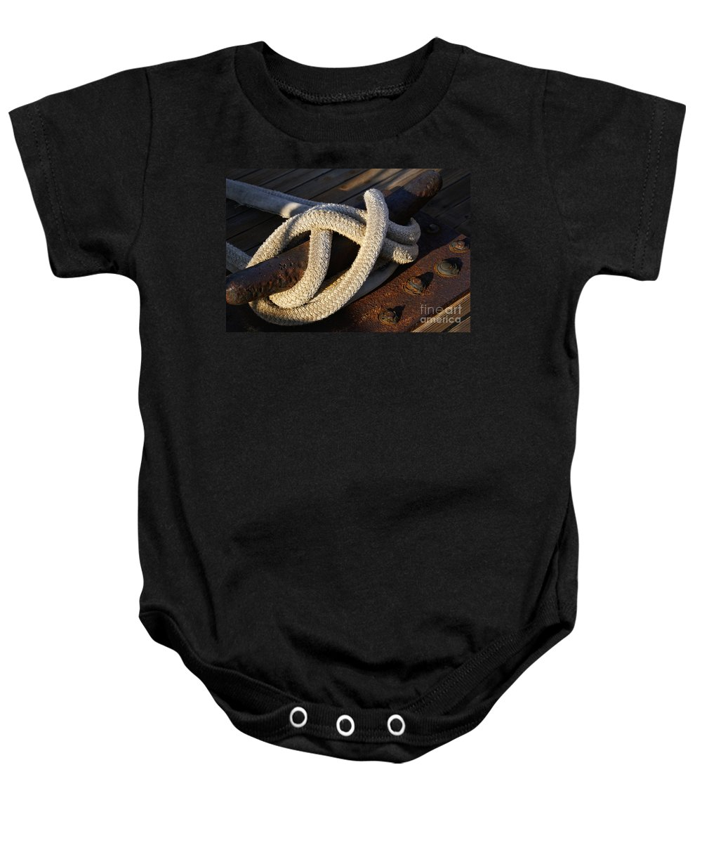 Maritime Baby Onesie featuring the photograph Mooring Rope Made Fast by Linda Shafer