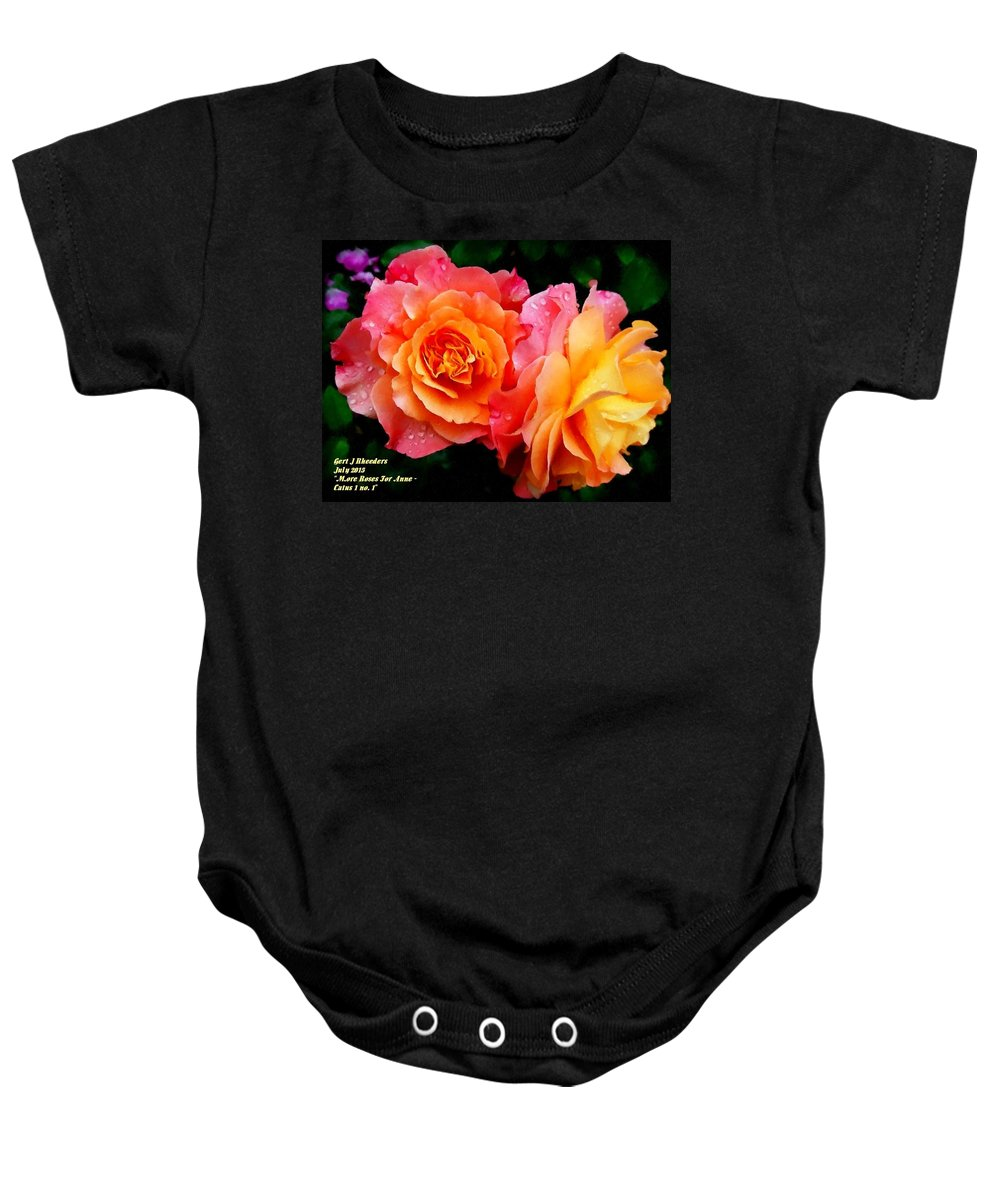 Announcement Baby Onesie featuring the painting More Roses For Anne Catus 1 No. 1 H A by Gert J Rheeders