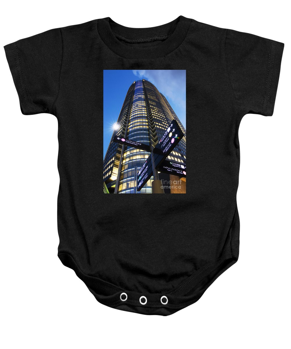 Architectural Art Baby Onesie featuring the photograph Mori Tower by Bill Brennan - Printscapes