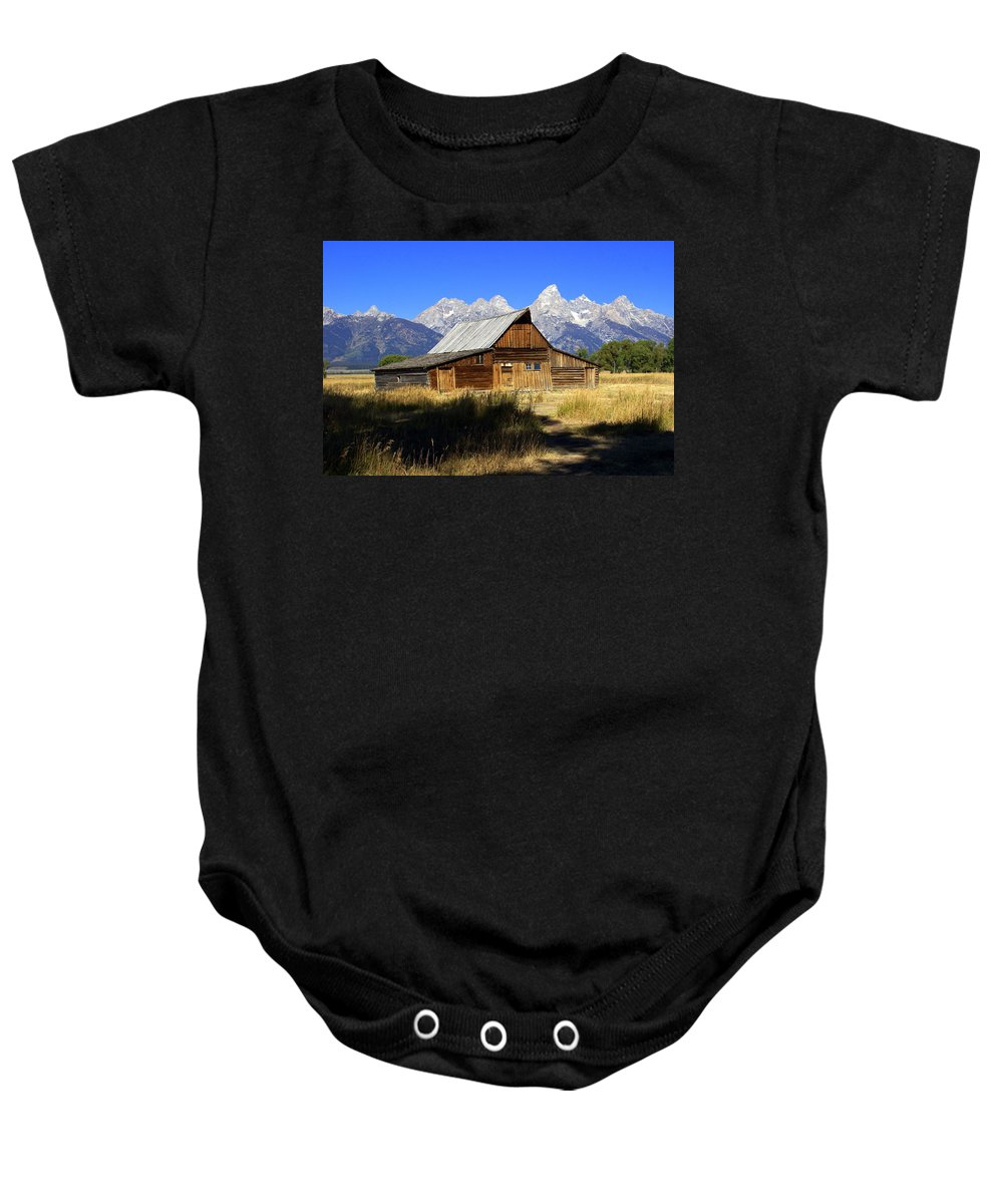 Barn Baby Onesie featuring the photograph Mormon Row Barn 2 by Marty Koch
