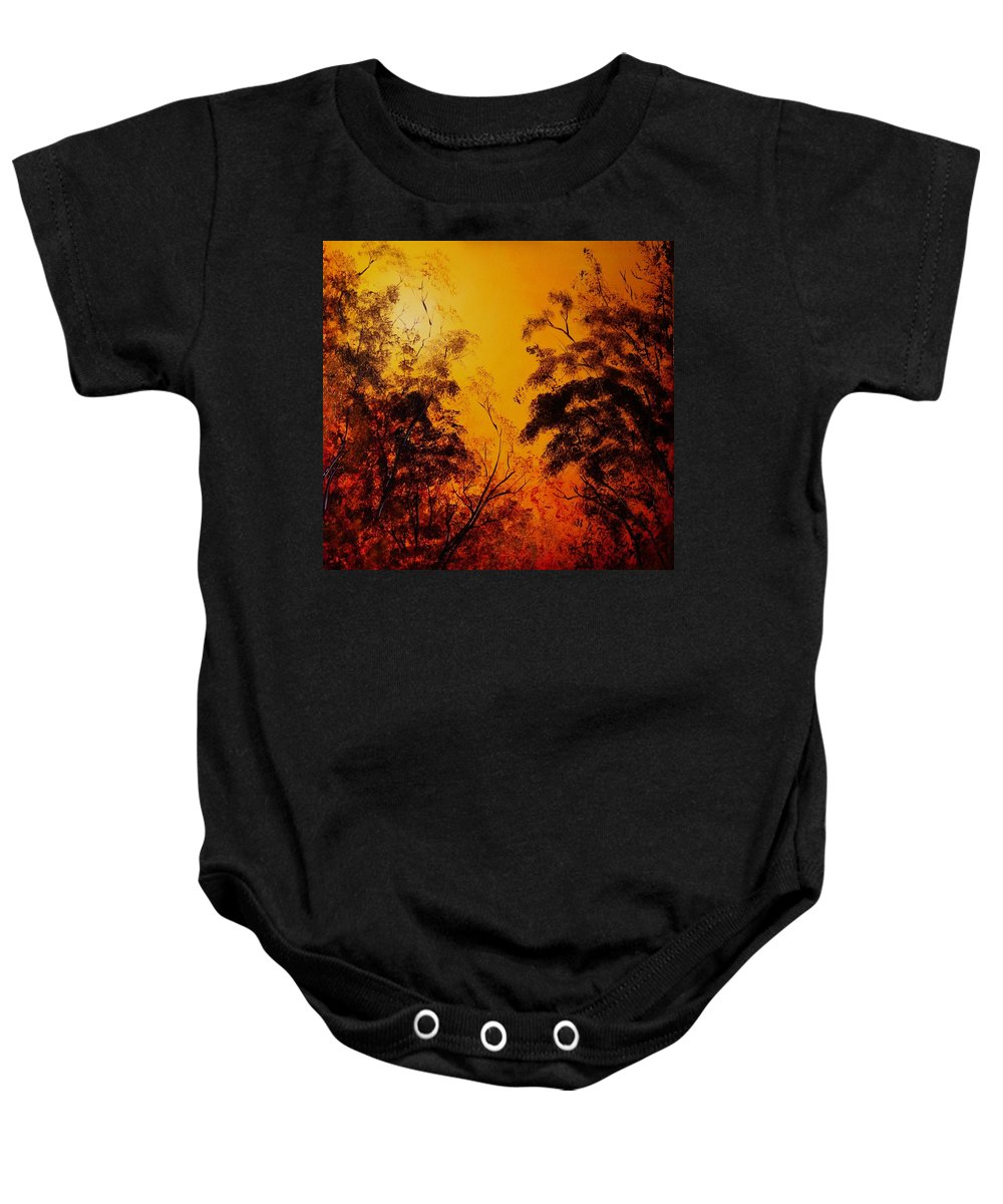Forest Baby Onesie featuring the painting Morning Canopy by Eugene Budden