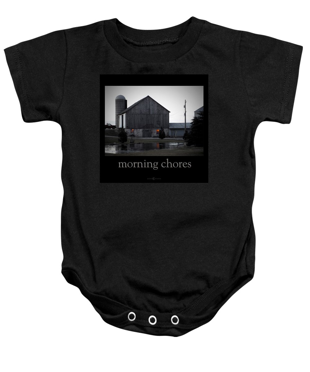 Poster Baby Onesie featuring the photograph Morning Chores by Tim Nyberg