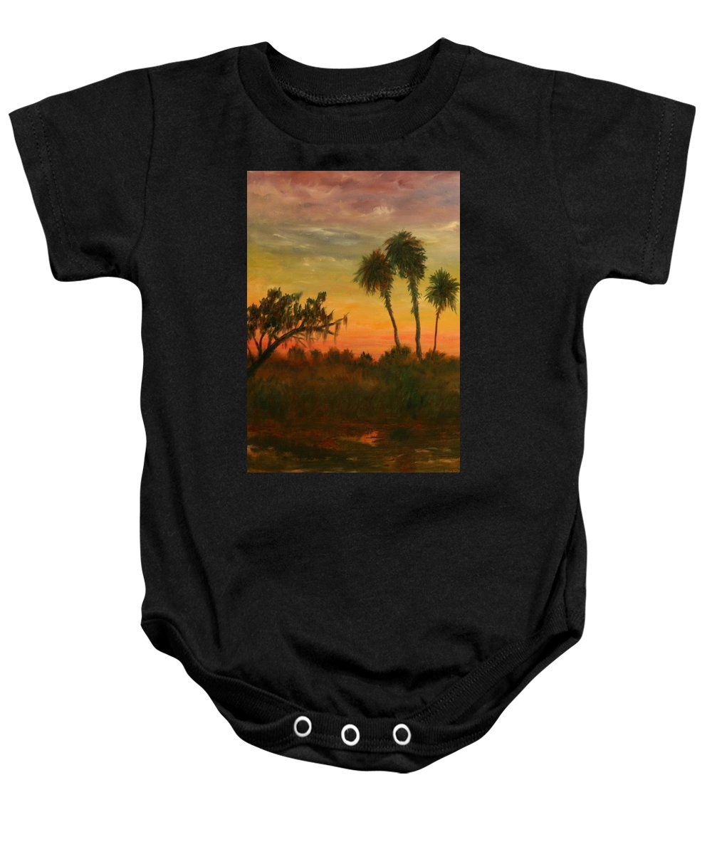 Palm Trees; Tropical; Marsh; Sunrise Baby Onesie featuring the painting Morning Fog by Ben Kiger