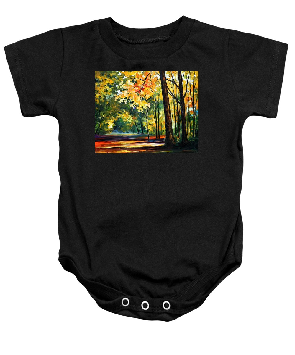 Afremov Baby Onesie featuring the painting Morning Forest by Leonid Afremov