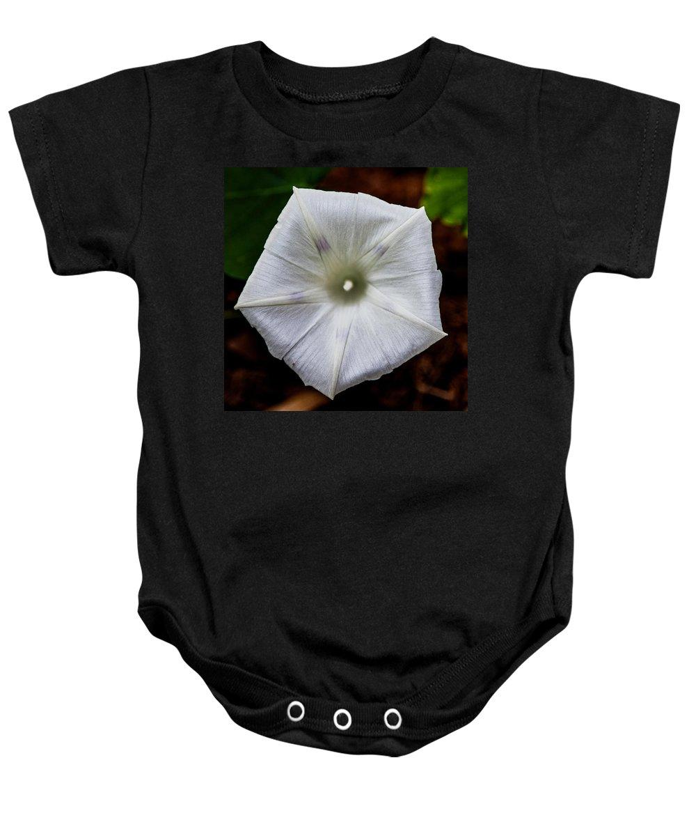 Flower Baby Onesie featuring the photograph Morning Glory White by John Haldane