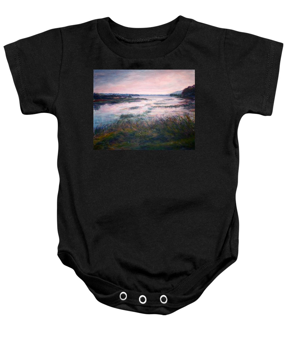 Water Baby Onesie featuring the painting Morning Glow by Quin Sweetman