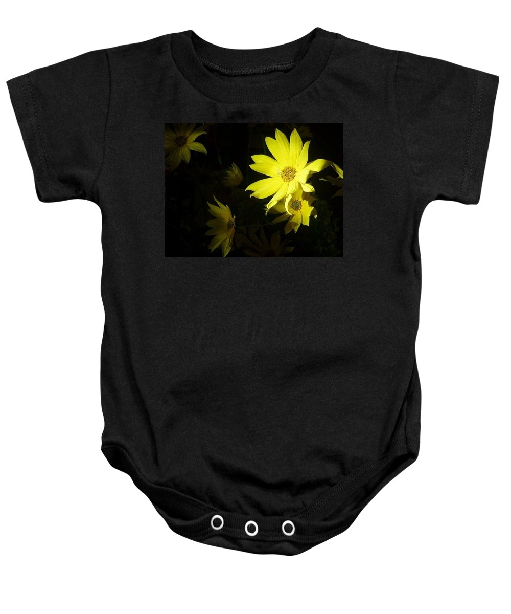 Yellow Flowers Baby Onesie featuring the photograph Morning Light by Cara Keane