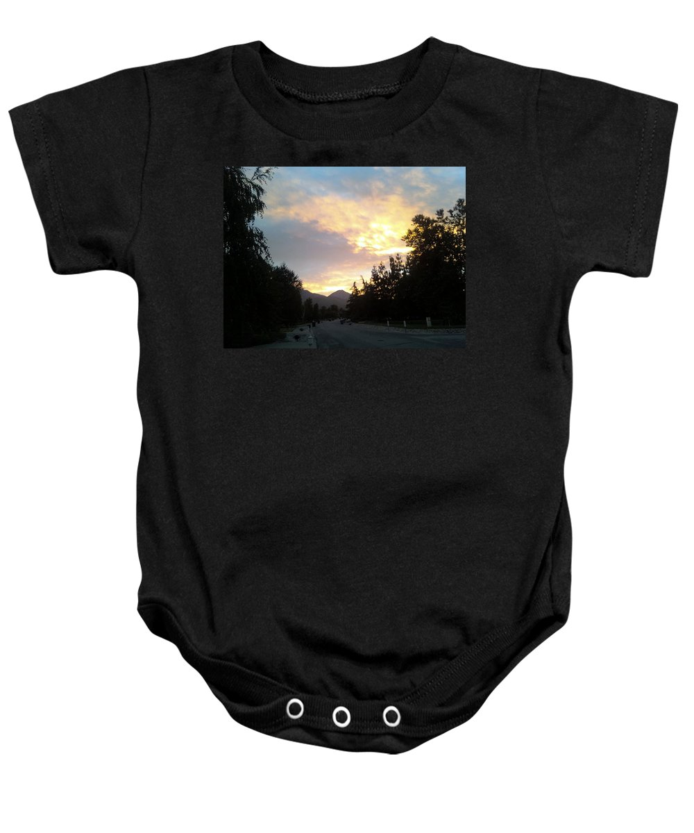 Sun Sunrise Morning Light Gold Clouds Sky Cloudscape Landscape Fall Autumn Daybreak Baby Onesie featuring the photograph Morning Light by Russell Keating