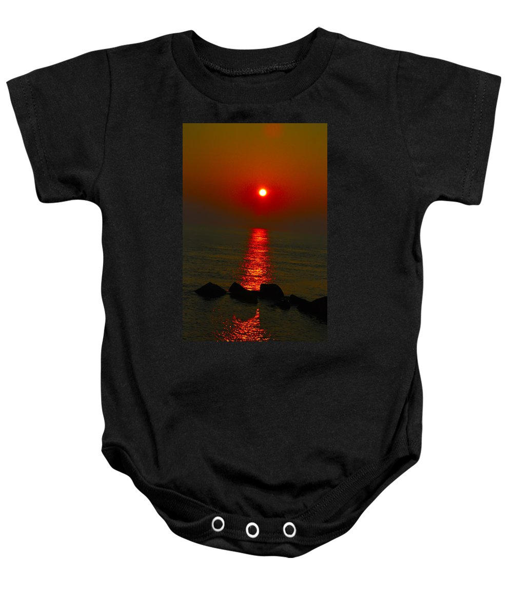 Sunrise Baby Onesie featuring the photograph Morning Reflection by Bill Cannon