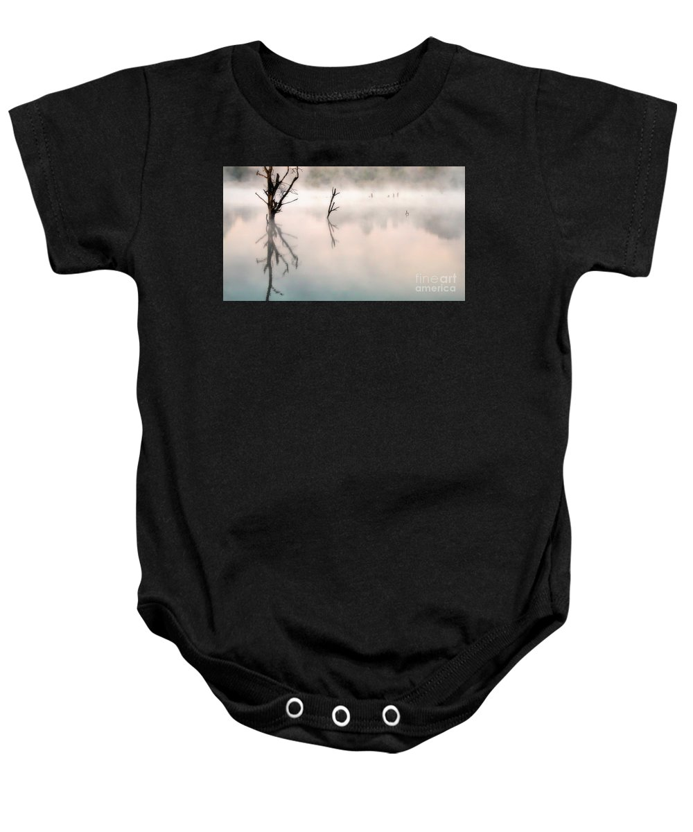 Morning Baby Onesie featuring the photograph Morning Reflection by Elizabeth Winter