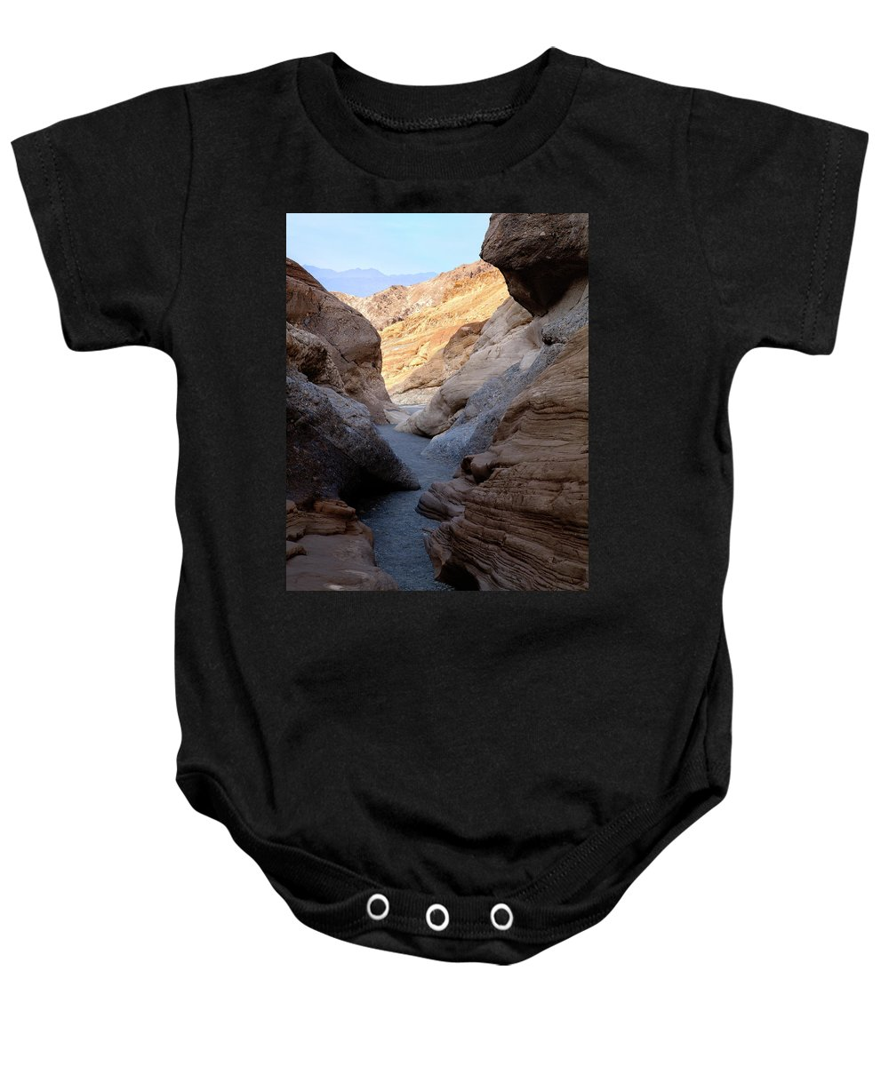 Mosaic Canyon Baby Onesie featuring the photograph Mosaic Canyon by Kelley King