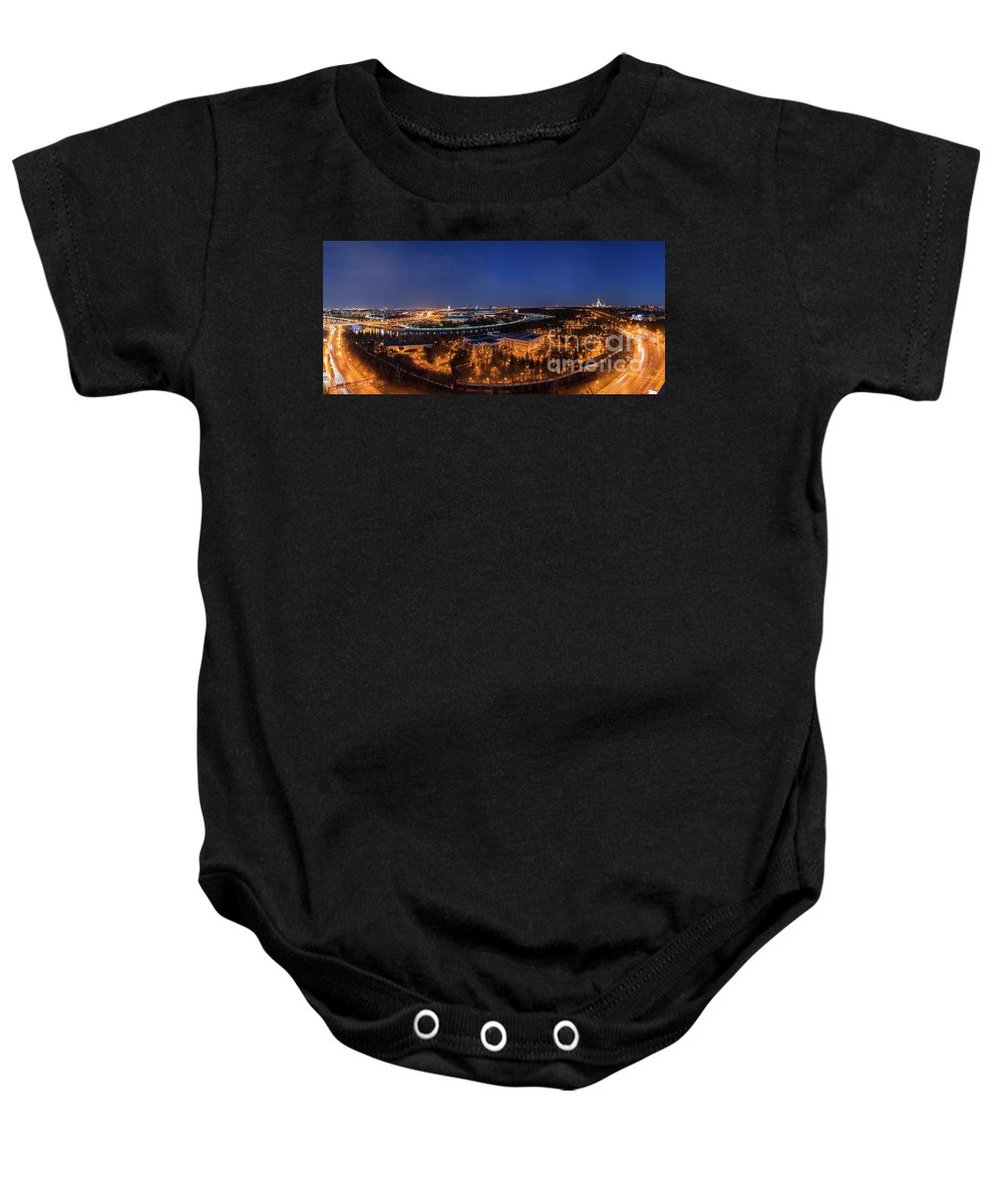 Moscow Baby Onesie featuring the photograph Moscow Night Panorama by Petr Smirnov