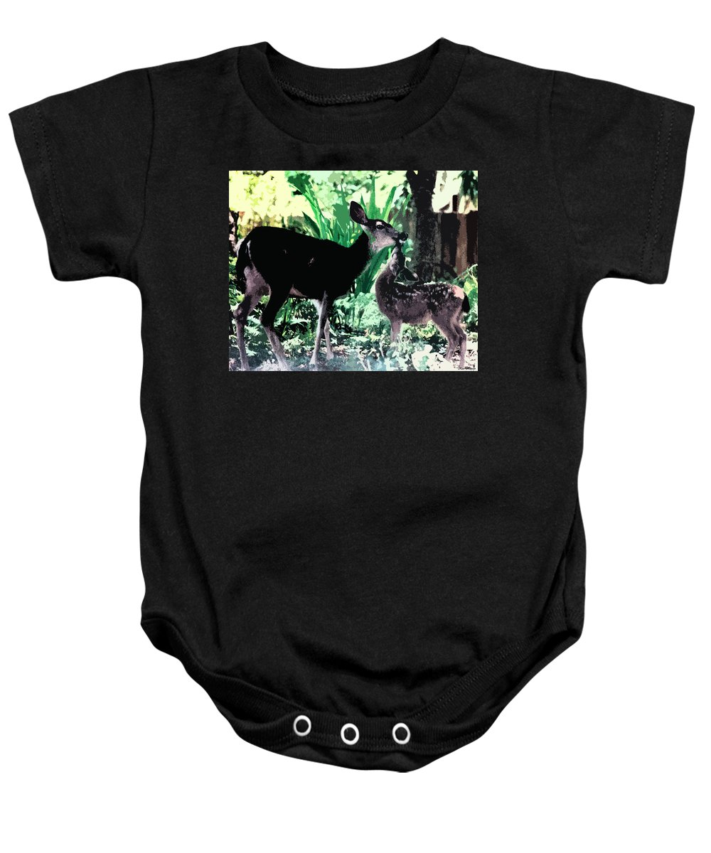 A Doe And Her Fawn Baby Onesie featuring the painting Mother And Child by Kate Hopson