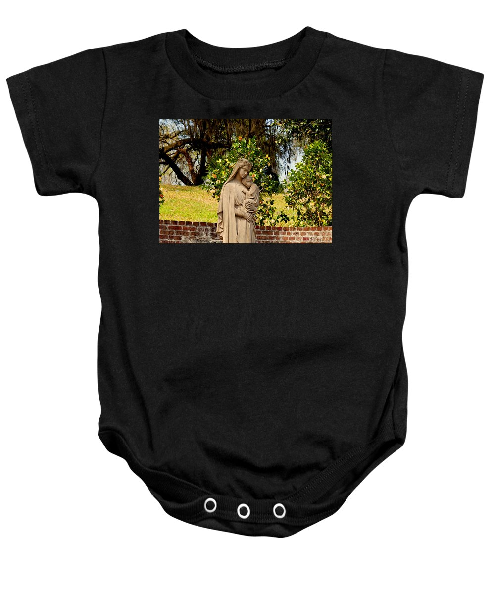 Holy Mary And Child Baby Onesie featuring the photograph Mother Mary by Susanne Van Hulst