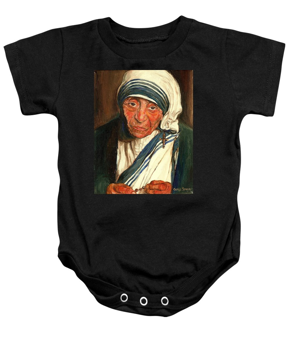 Mother Teresa Baby Onesie featuring the painting Mother Teresa by Carole Spandau