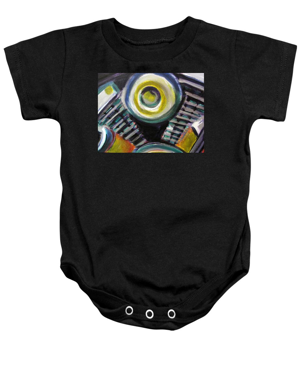 Motorcycle Baby Onesie featuring the painting Motorcycle Abstract Engine 2 by Anita Burgermeister