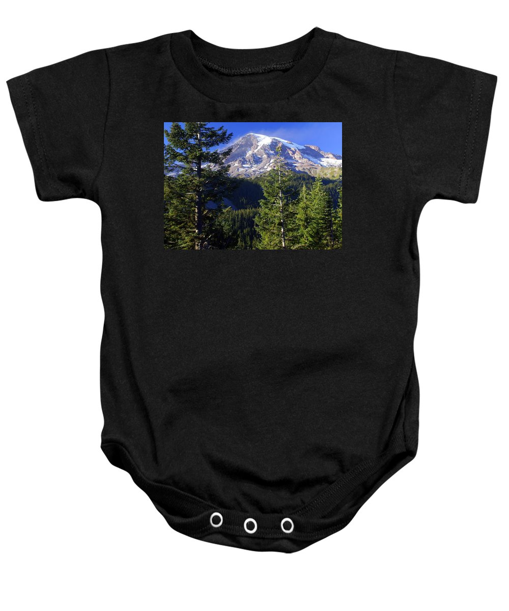 Mount Raineer Baby Onesie featuring the photograph Mount Raineer 1 by Marty Koch