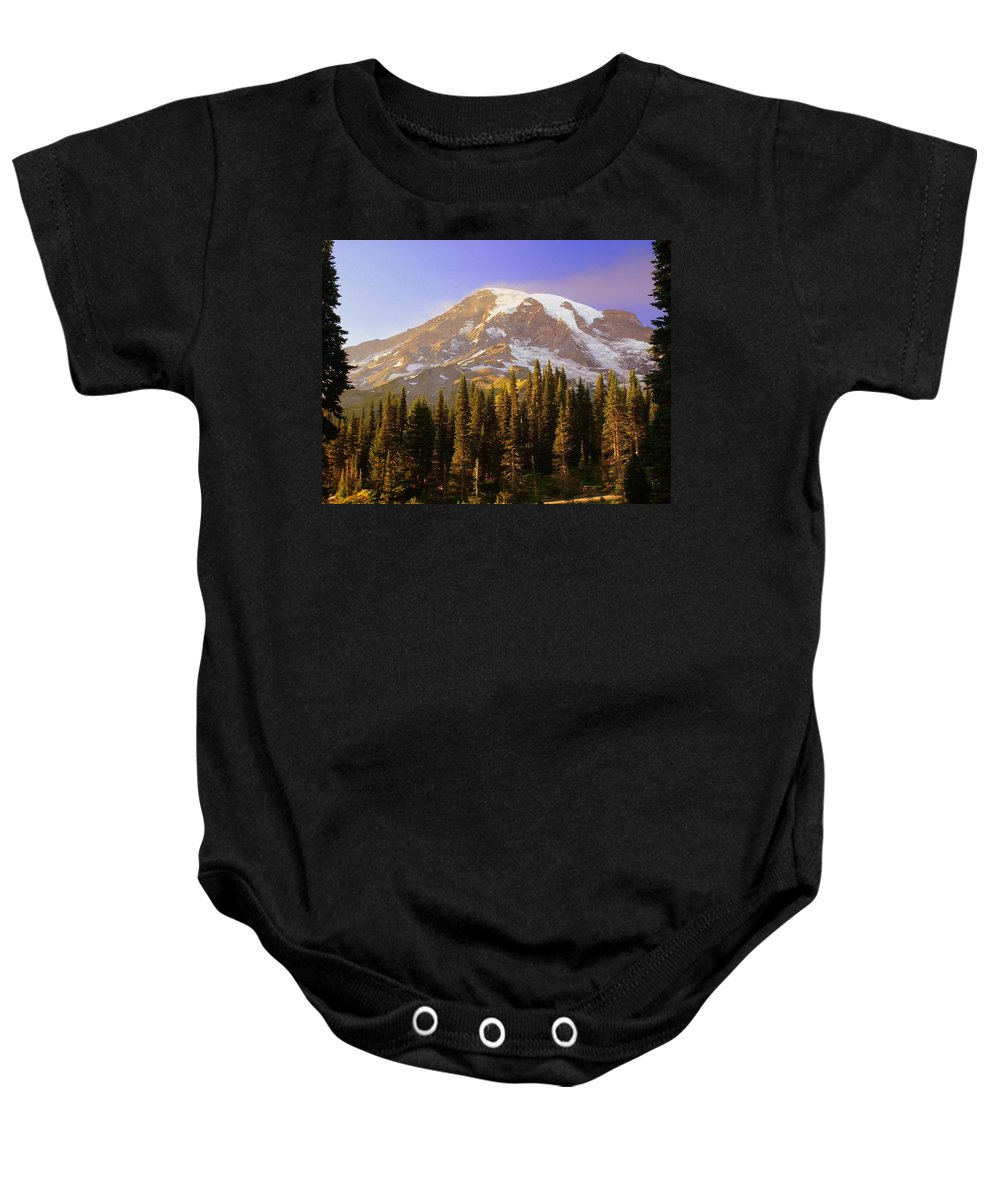 Mt. Raineer Baby Onesie featuring the photograph Mount Raineer 2 by Marty Koch