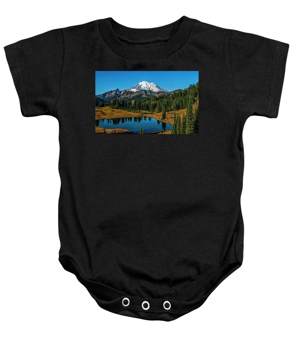 Washington Baby Onesie featuring the photograph Natures Reflection - Mount Rainier by Michael Sedam