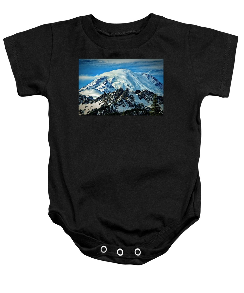 Washington Baby Onesie featuring the photograph Early Snow - Mount Rainier by Michael Sedam