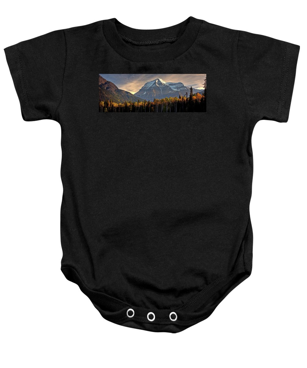 Baby Onesie featuring the digital art Mount Robson by Mark Duffy