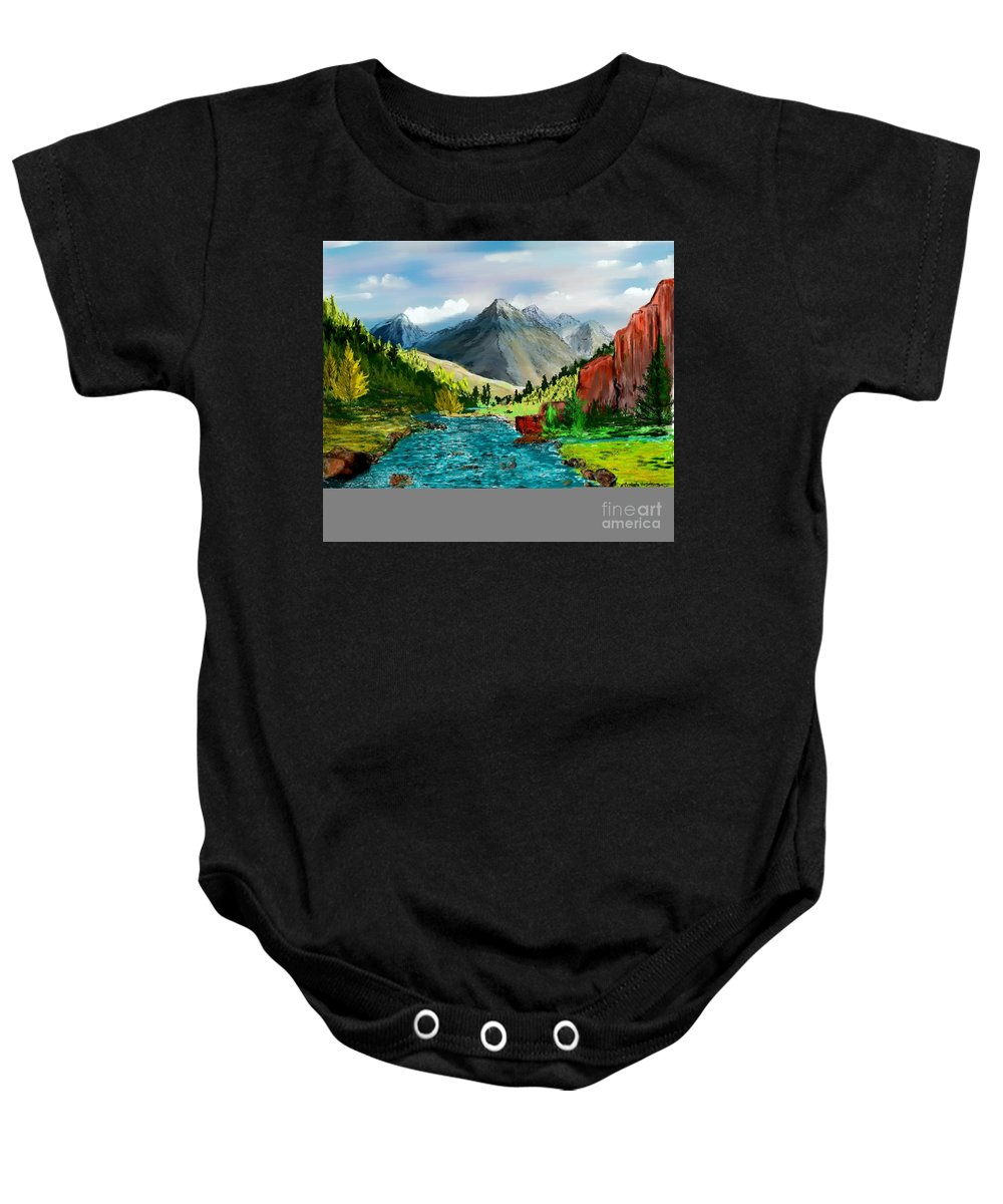 Digital Photograph Baby Onesie featuring the digital art Mountaian Scene by David Lane