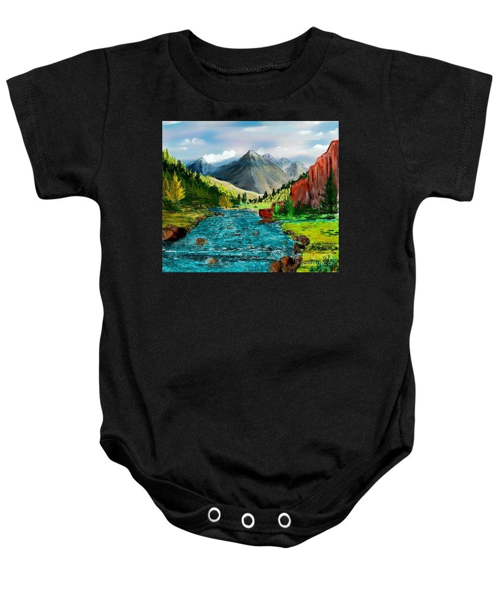 Nature Baby Onesie featuring the digital art Mountain Stream by David Lane