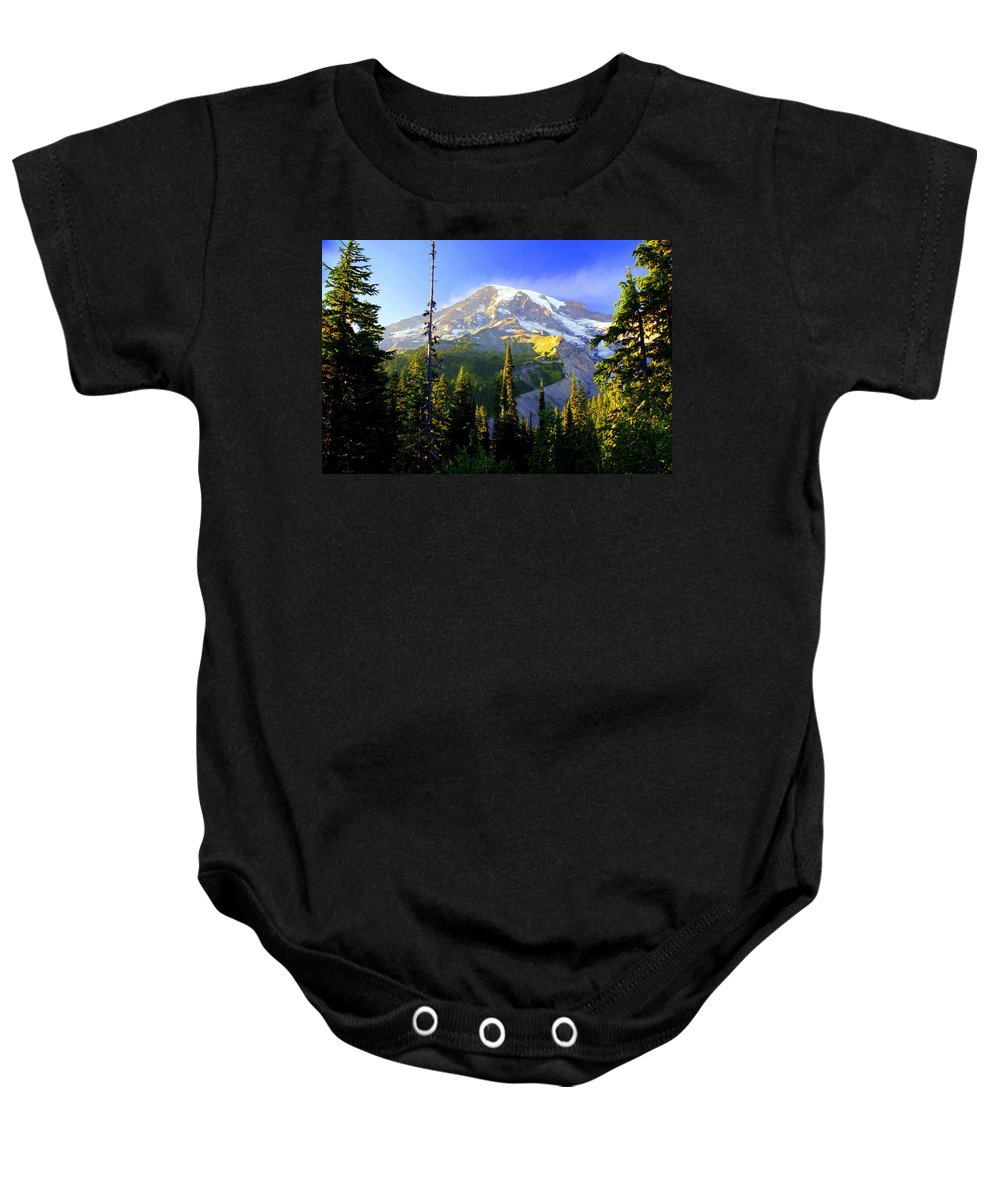Mountain Baby Onesie featuring the photograph Mountain Sunset by Marty Koch