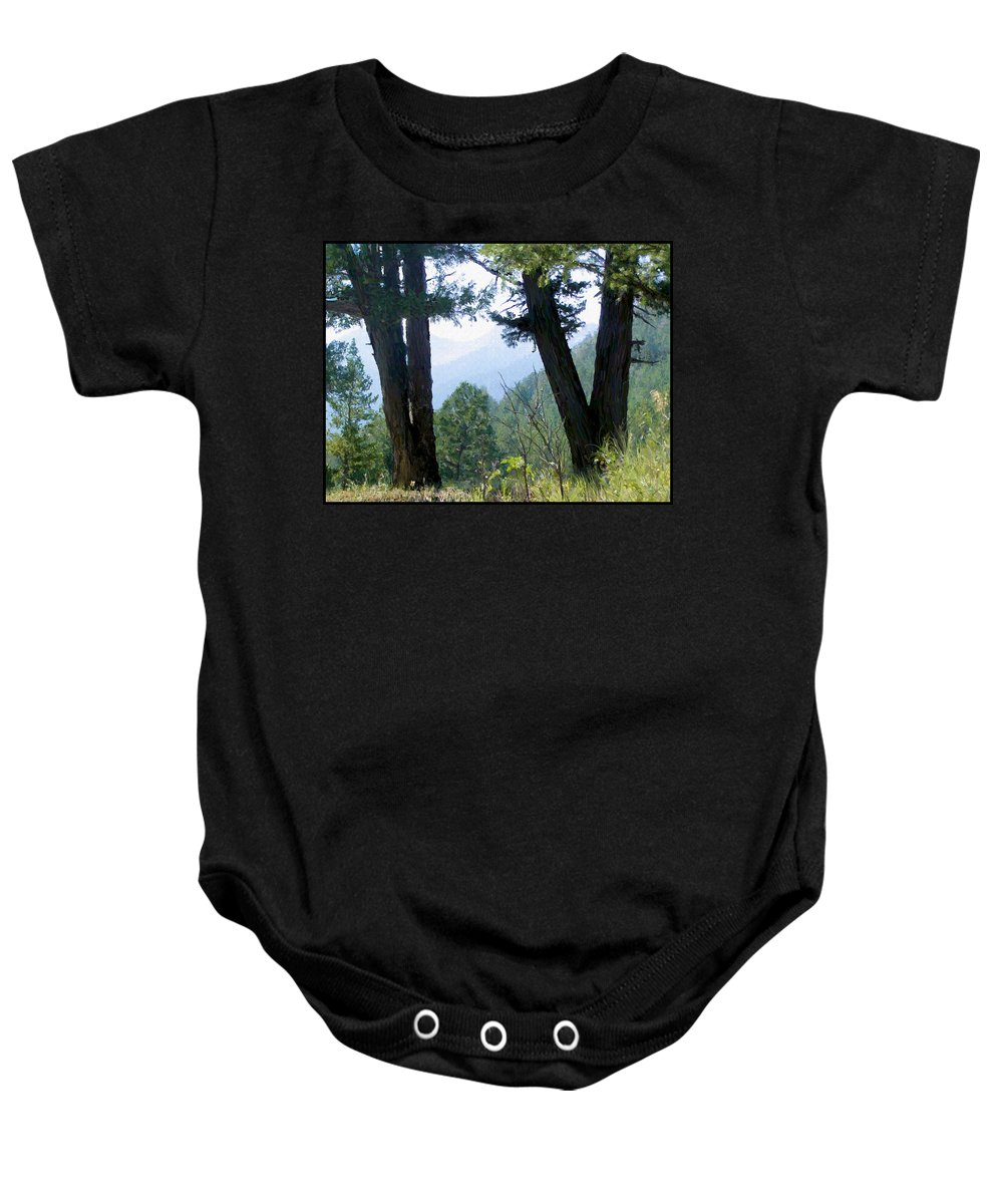 Digital Painting Baby Onesie featuring the painting Mountain View by Susan Kinney