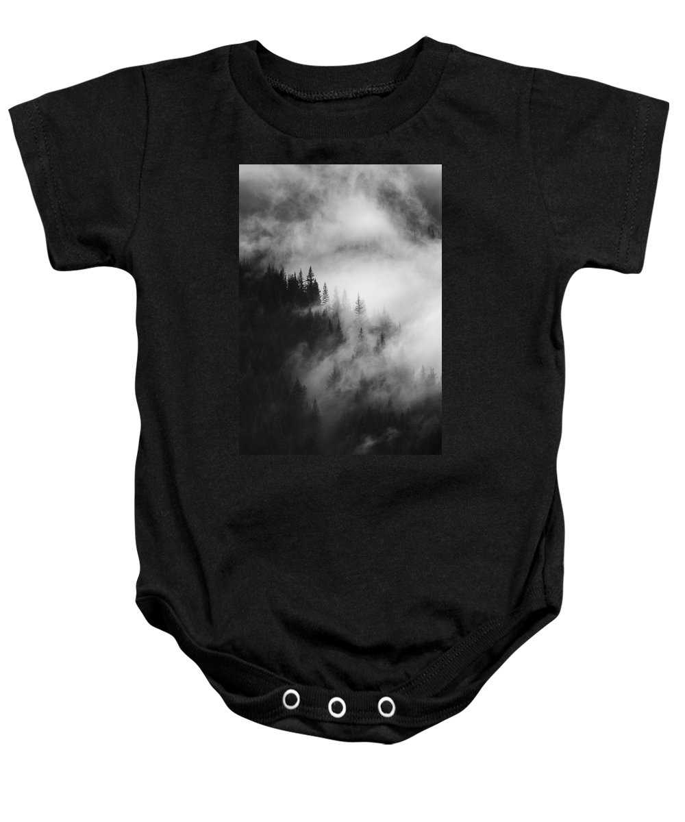 Forest Baby Onesie featuring the photograph Mountain Whispers by Mike Dawson