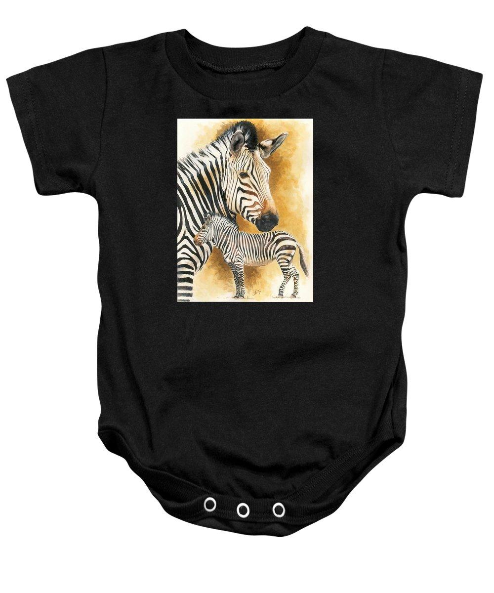 Zebra Baby Onesie featuring the mixed media Mountain Zebra by Barbara Keith