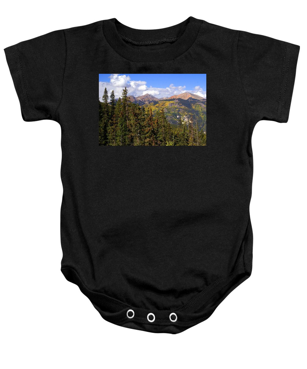 Colorado Baby Onesie featuring the photograph Mountains Aglow by Marty Koch