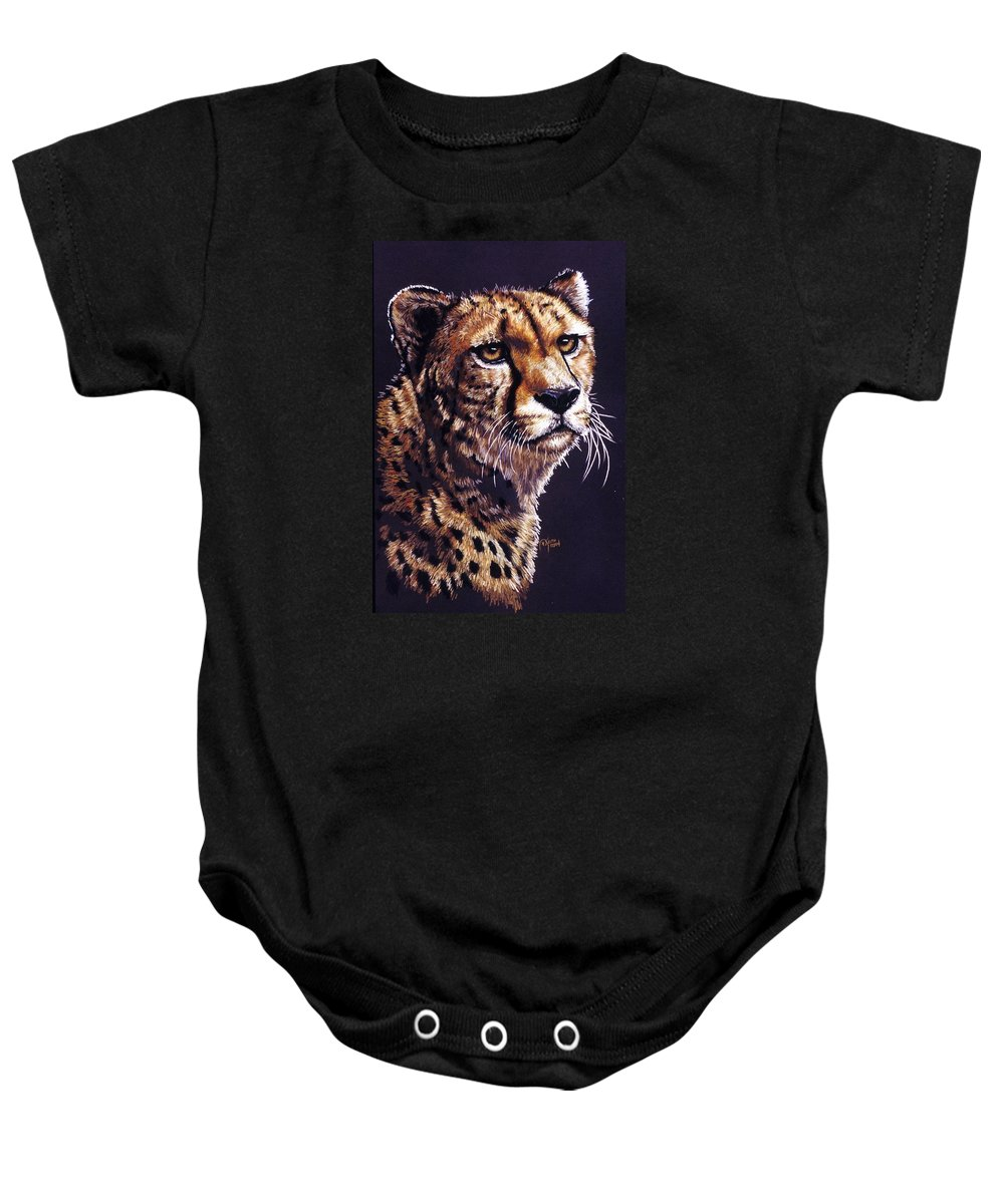 Cheetah Baby Onesie featuring the drawing Movin On by Barbara Keith