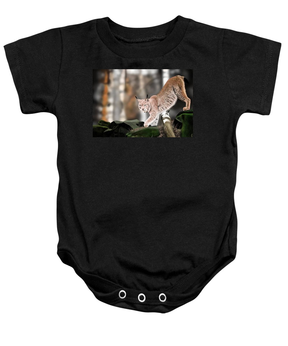 Lynx Baby Onesie featuring the digital art Moving Through The Forest by Richard Kotchie