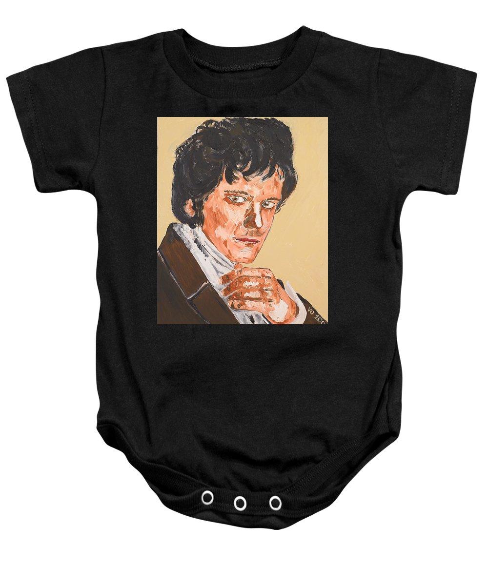 Darcy Baby Onesie featuring the painting Mr. Darcy by Valerie Ornstein