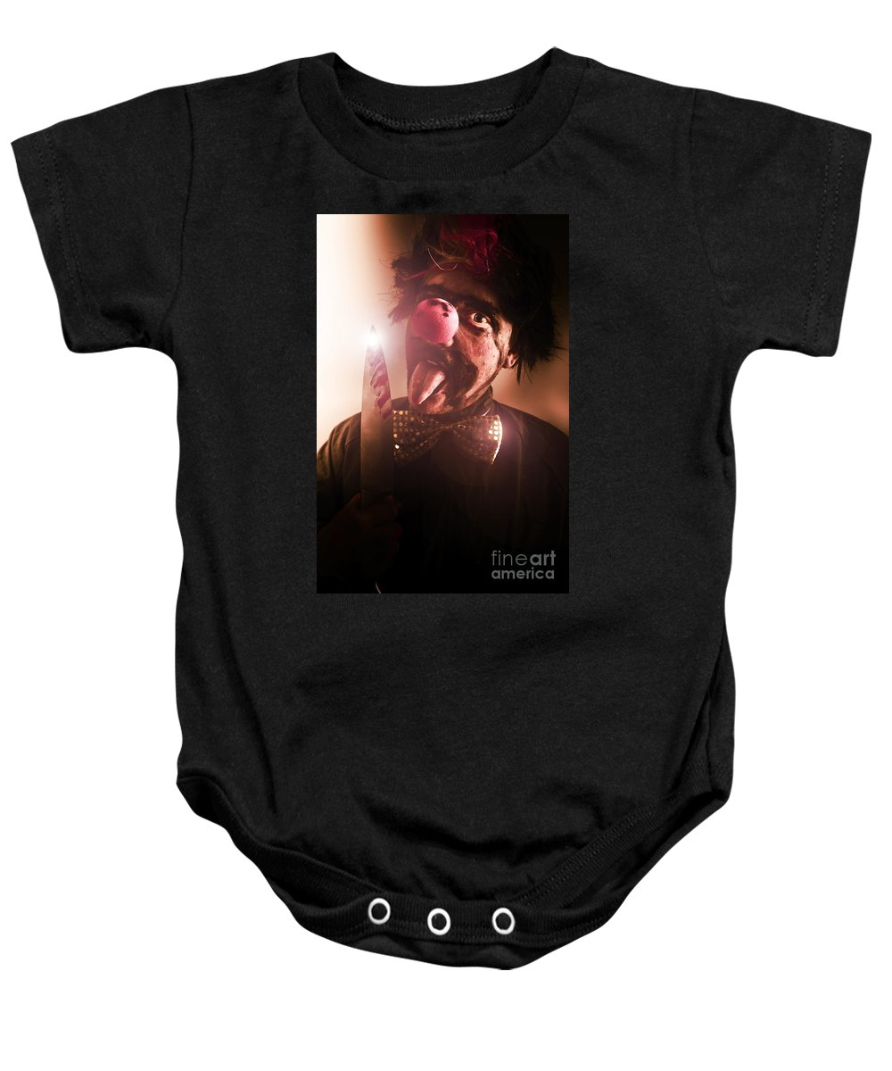 Blood Baby Onesie featuring the photograph Mr Evil The Clown by Jorgo Photography - Wall Art Gallery