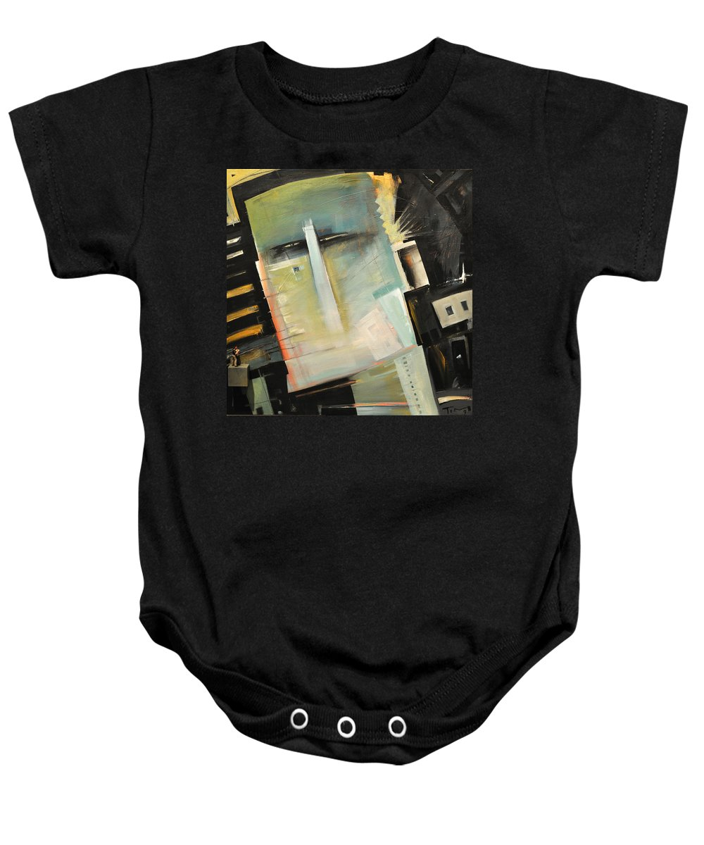 Robot Baby Onesie featuring the painting Mr. Roboto by Tim Nyberg