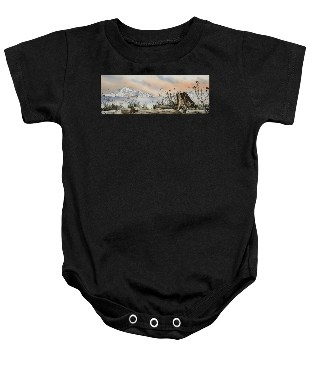 Landscape Fine Art Print Baby Onesie featuring the painting Mt. Baker Cascade Coast by James Williamson