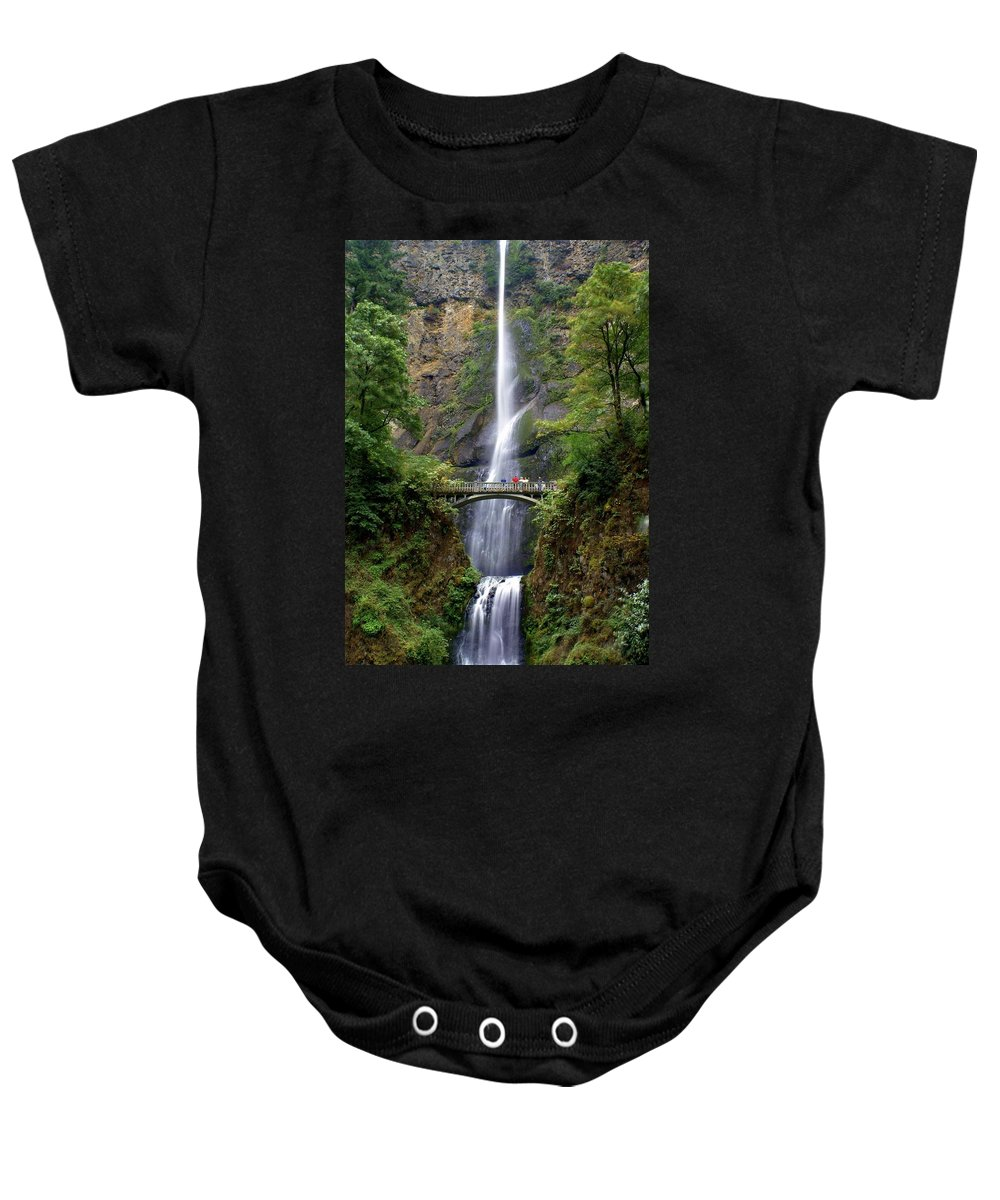 Waterfalls Baby Onesie featuring the photograph Multanomah Falls by Marty Koch