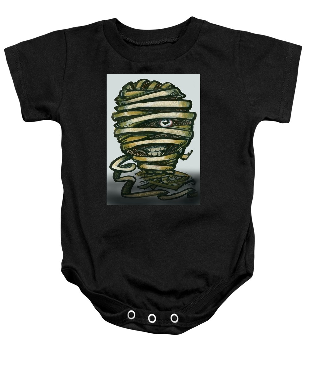 Mummy Baby Onesie featuring the greeting card Mummy by Kevin Middleton