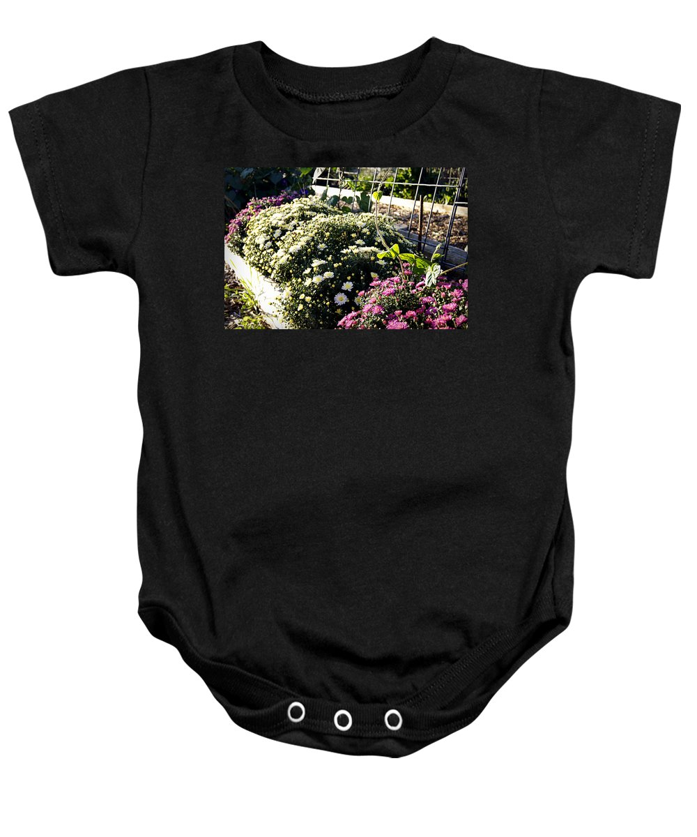 Mums Baby Onesie featuring the photograph Mum's The Word by Cricket Hackmann