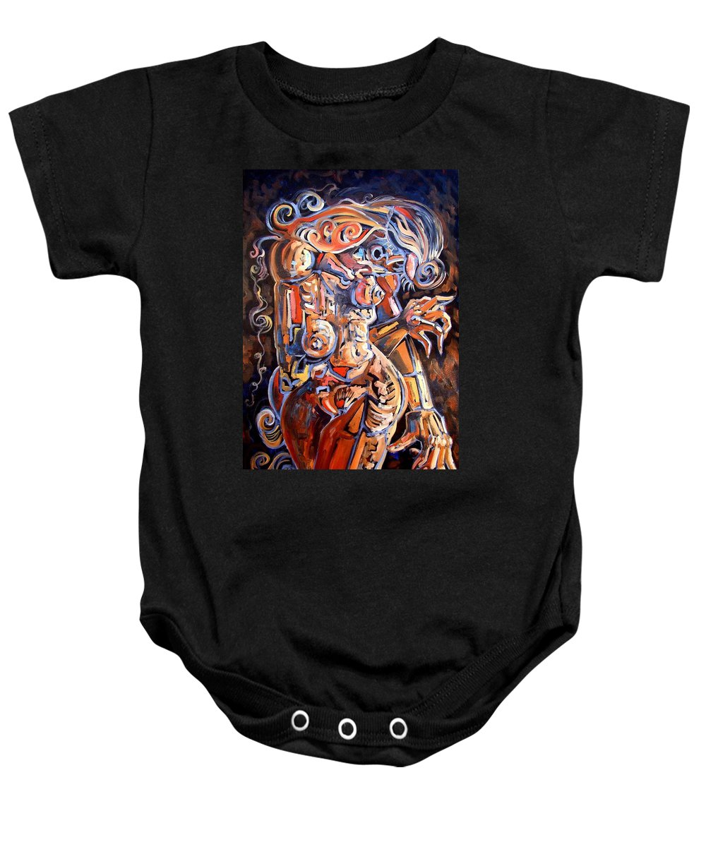 Surrealism Baby Onesie featuring the painting Muse In The Dark by Darwin Leon