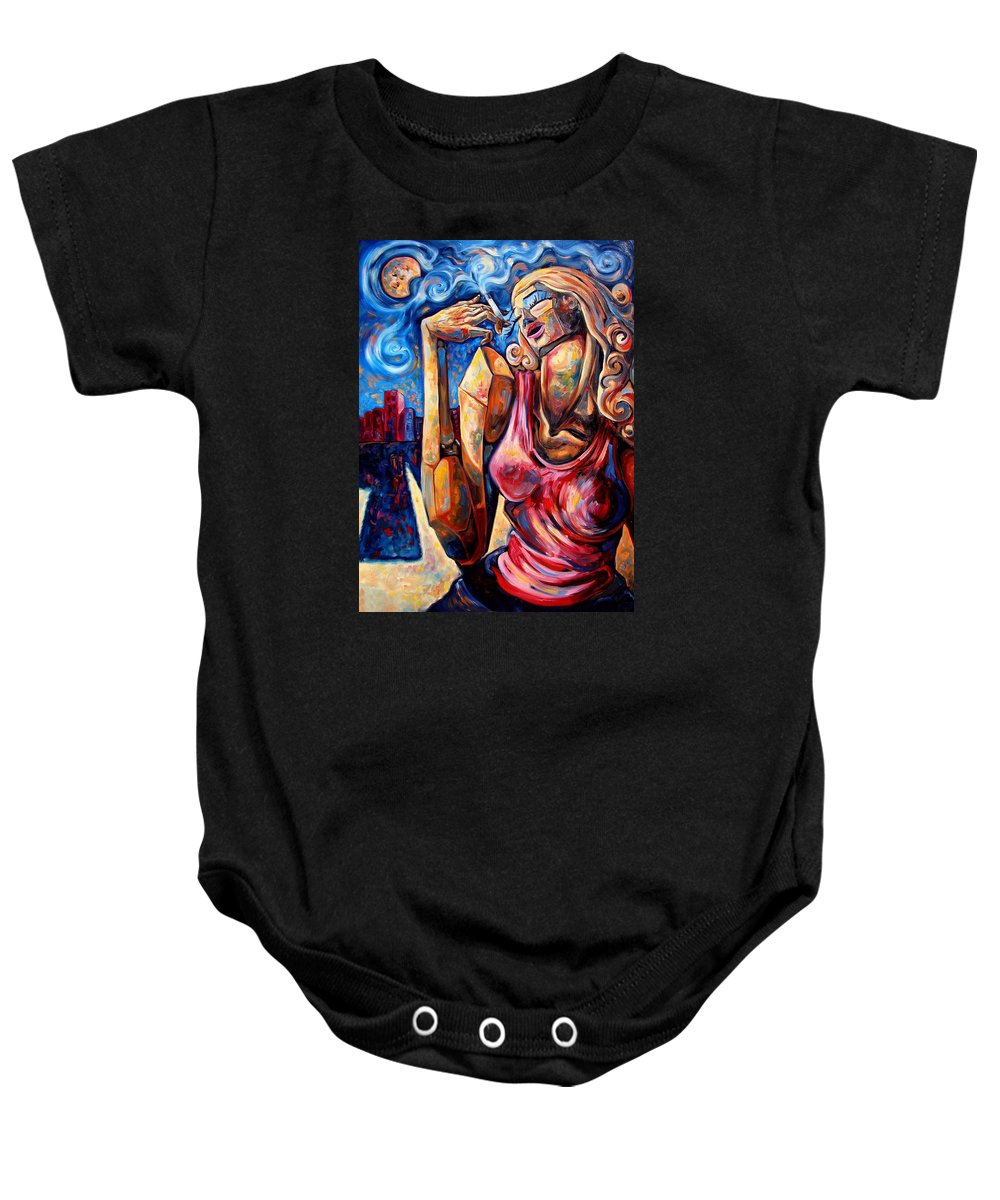 Surrealism Baby Onesie featuring the painting Muse Of The Long Neck In The Night City by Darwin Leon