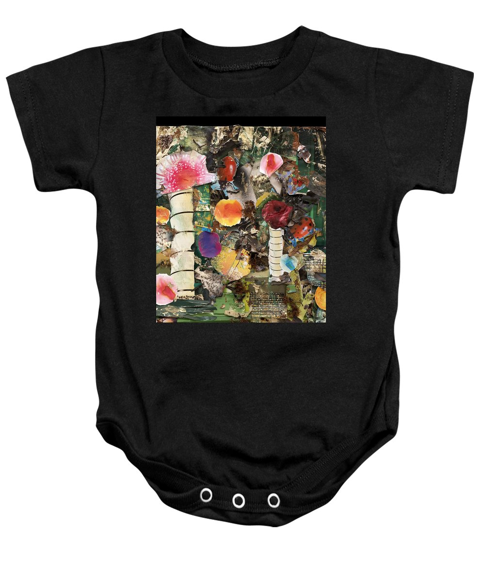 Abstract Baby Onesie featuring the mixed media Mushroom by Jaime Becker