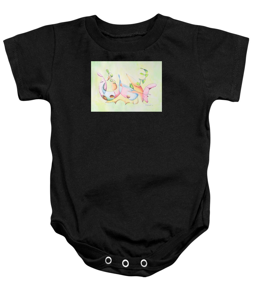 Watercolor Baby Onesie featuring the drawing Music by Dave Martsolf